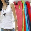 de las mujeres chaleco de verano spandex modal jersey de punto camisa t señora u cuello sin mangas serigrafiado tapa del tanque