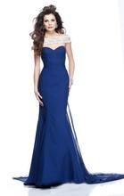 dt10 sexy elegante línea de una novia sin tirantes de la vaina de encaje azul vestido de noche 2014
