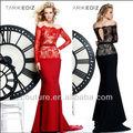 tyu2344 2014 recién llegados tarik ediz vestidos con sirena de manga larga de encaje satinado vestido de noche