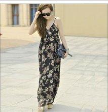 2013 moda espaguetis correa impreso maxi vestido bohemio para las mujeres