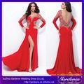 V manga larga- cuello características de concurso magnífico rojo con cuentas a largo rojo sexy 2013 nuevo modelo de vestido de n