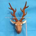 Cabeza de ciervo Furry Animal Taxidermia Figurita Montada para la decoración casera