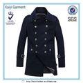 oem de alta calidad de lana estilo coreano de doble botonadura capa de los hombres
