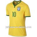 Brasil 2014 uniforme de fútbol de ventas al por menor calidad tailandia 10 neymar. Jr camiseta de fútbol de brasil