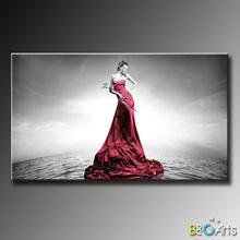 Venta al por mayor de la producción en masa en mujer vestido rojo de impresión de la imagen, decoración de la habitación de