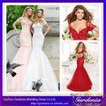 De haute qualité belle sirène robe de soirée rouge robe de soirée en dentelle dos ouvert soir, manches courtes jupe en tulle
