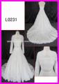 El último vestido de encaje con la chaqueta de Guangzhou Panyu precio al por mayor del vestido de boda del vestido nupcial del v