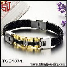 la personalidad de oro de acero de titanio pulseras con estilo para hombres