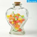 de alta calidad del corazón en forma de frasco de vidrio con corcho al por mayor