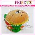 Hambúrguer design com enchimento de brinquedos do cão, melhor venda de pelúcia brinquedos do cão