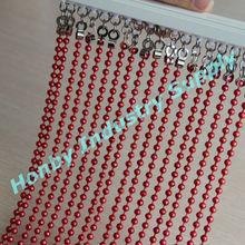 espléndida 6mm de color rojo brillante cadena de la bola de cortinas de cuentas