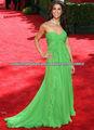 Verde de la gasa del amor del A-line riza el vestido de noche de la Piso-longitudM002