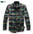 los hombres's color verde múltiples comprobar camisa de franela