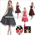 Proveedor de china de la vendimia con clase 1950's lunares rockabilly vestido vestido de swing