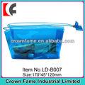 hermoso de color transparente del pvc cosméticos bolsa con cierre de cremallera
