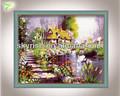 Mão- de paisagem pintada sonho casa flor pinturas a óleo