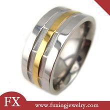 anillos de ventas al por mayor de china en la línea de oro de acero inoxidable grandes anillos de los hombres