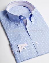 elegantes damas de algodón polka dot imprimir cuello de botón de la camisa casual