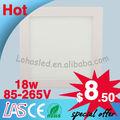 18w paneles para techos del ce rohs de ul fcc lvd smd2835 epistar alto cri blanco pequeño cuadrado led panel de luz iluminacion