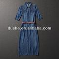 China 100% fabricante de algodón de manga larga bonnie dril de algodón maxi vestido s131364