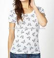 para mujer allover printd mariposa blanco t camisa