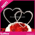 Coração duplo- em forma de cristal do casamento strass topper do bolo suprimentos