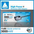 Melón n3000, mbps 150 3000mw de alta ganancia wifi adaptador usb/transmisor-receptor wifi