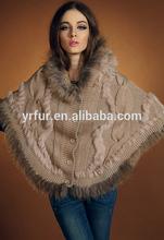 De calidad genuina piel real forrado de hilados de punto con capucha poncho/forradas de piel capa