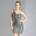 Rockabilly 1950's por la noche vestido de un hombro plataimpresa vestido