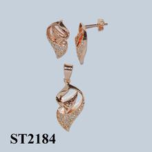 2014 baratos al por mayor de chapado en oro de joyería de moda st2184 hawaiano baratos joyería de cristal de la joyería