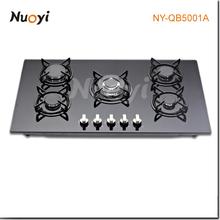Nuoyi caliente de la venta! La inserción de vidrio templado de cocina cocina de 5 hornillas