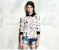 verano 2014 inteligente para mujer de manga larga cuello de peter pan de impresión blusa