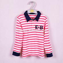 2014 100% de algodón de manga larga de color rojo raya camisa de polo camisetas ropa de los niños para años 3-7 fabricante
