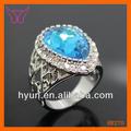 gran piedra azul de la india anillos de piedras preciosas topacio azul anillo de la joyería anillo de diamante azul