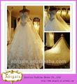 2014 vestido de novia nuevo Cristal Piedras una línea de tren de la catedral del vestido de novia de la boda