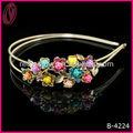 Rosas coloridas strass tiara de metal moda jóias