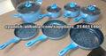 7 piezas juego de ollas de aluminio azul