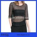 2014 de diseño de moda negro transparente señoras sexy de encaje camisa t