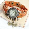 2013 punky relojes de cuero de vaca libélula vendimia
