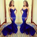 2014 uniqued design decote em v de cor azul royal sereia vestidos de noite