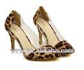 2014 verano caliente venta de leopardo de cristal transparente de punta de nuevo diseño sexy sandalias para mujer
