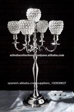 Candelabros, candelabros de plata, candelabros de bodas, central de la boda, 5 candelabros brazo