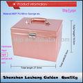 Cocodrilo rosa de cuero caja de joyería con cerradura de llave, de imitación de viaje de cuero caja de joyería