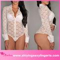 venta al por mayor blanco de encaje pura largo mangas traje de las señoras de la miel de algodón ropa interior de peluche