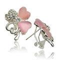 2013 nuevos productos de diamante de imitación pendiente de diseño de la flor de cristal de plata pendiente para las mujer B826k