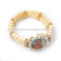 Beige de la perla pulsera, católica pulsera, pulsera santo. Jbhbc1401-19
