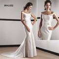 Fabricant Off-épaule Satin sirène Robe de mariée