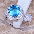 rosa de oro topacio azul anillo de bronce de joyas de piedra