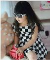 verano 2013 niñas nuevo chaleco de gasa vestido vestido a cuadros