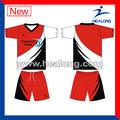 negro y rojo camiseta de fútbol fabricante de equipo de fútbol jersey